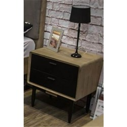Alba - Bedside Table, 2 Drawer - Acacia/2 Tone Sandblast