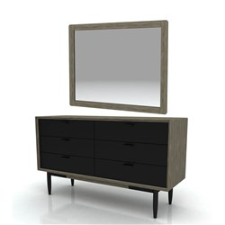 Alba - Dresser and Mirror, 6 Drawer - Acacia/2 Tone Sandstone