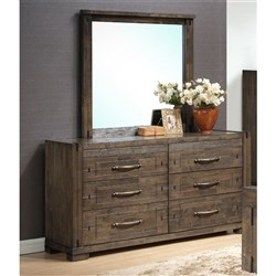 Charlie - Dresser & Mirror, 6 Drawer - Charcoal Grey