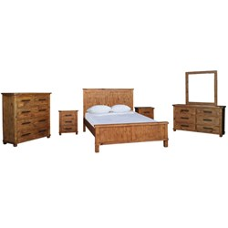 Industrial - Queen Bed - Weathered Pine