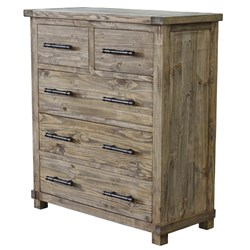 Industrial - Tallboy, 5 Drawer - Weathered Pine
