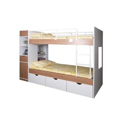 Olympus - Bunk Bed - Pure White & Oatmeal
