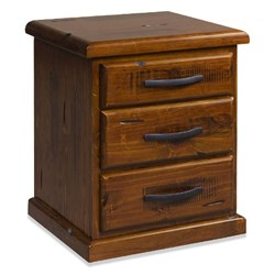 Rye - Bedside Table, 3 Drawer - Pine/Jamaica