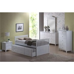Bailey Captain Single Bed with Trundle - White