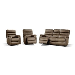 Hugo - 3 Seater w 2 Recliners  + 1 Recliner + 1 Recliner - Leather/Black