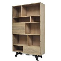 Bari - Bookcase, 1 Drawer/1 Door + 8 Shelves - Latte
