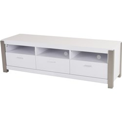 Cannes - ETU, 3 Drawer/3 Shelf - 2PAC/White/Stainless Steel