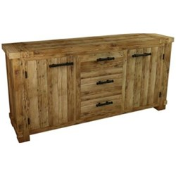 Industrial - Buffet, 3 Drawer + 2 Door - Recycled Pine/Weathered Pine
