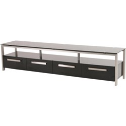 Majorca - ETU, 4 Drawer/1 Shelf - Black Tempered Glass
