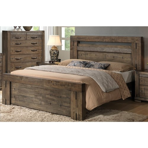 CHARLIE QUEEN BED HARDWOOD CHARCOAL GREY A1466 QB