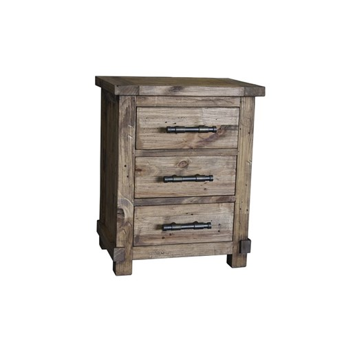 Industrial - Bedside Table, 3 Drawer - Weathered Pine