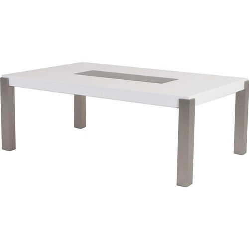 Cannes*1800 - Dining Table - White/Stainless Steel/Tempered Glass