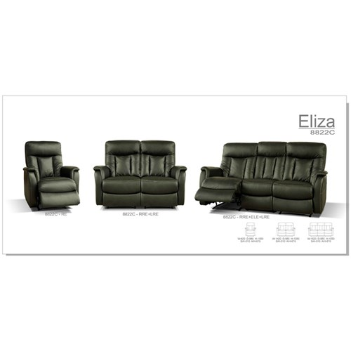 Eliza 2 Seater with 2 Recliners + 1 Recliner + 1 Recliner - Cow Split/Espresso