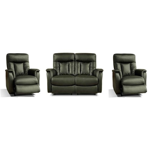 Eliza - 2 Seater with 2 Recliners + 1 Recliner + 1 Recliner - Cow Split/Light Grey