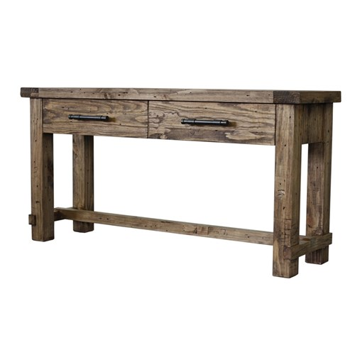 Industrial - Hall Table, 2 Drawer - Recycled Pine/Weathered Pine