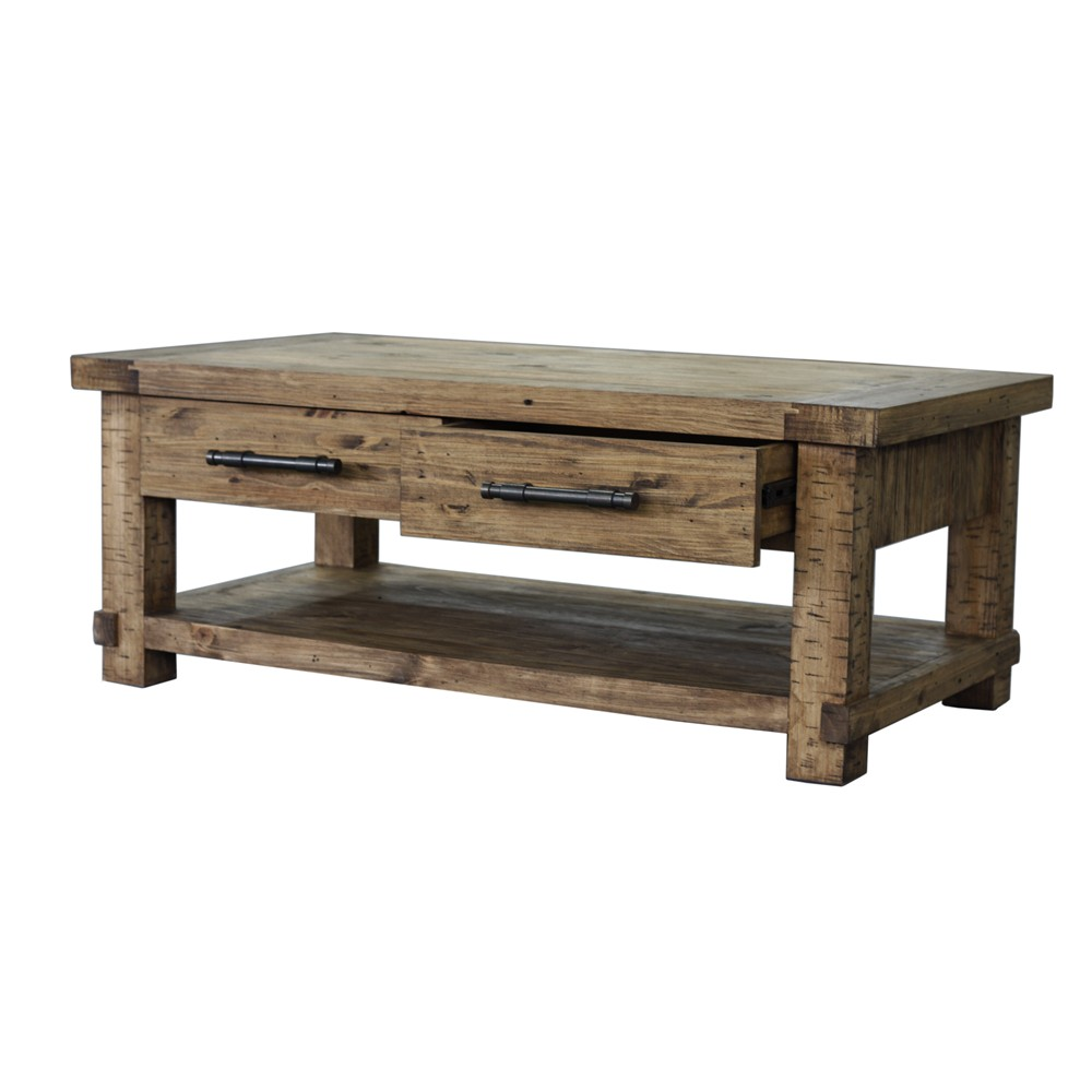 Young Industrial Coffee Table: INDUSTRIAL 4DRAWER COFFEE TABL PINE/RUSTIC PINE (ILA001